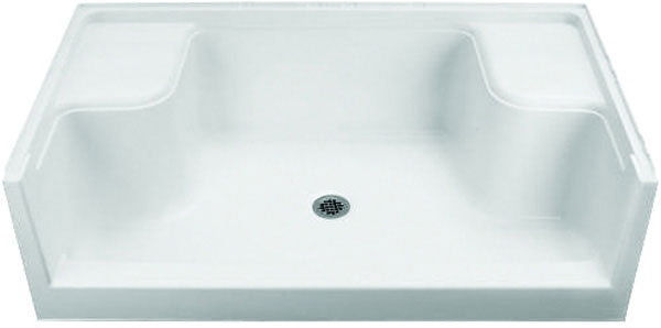 Sterling 6204 Advantage Seated Shower Receptor, 60 in x 34 in x 5 in, Center Drain, White, Domestic