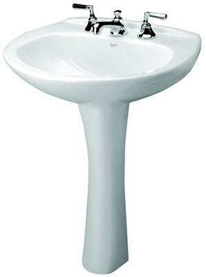 "25"" x 19"" Vitreous China Pedestal Lavatory with 4"" Faucet Center, White Color"
