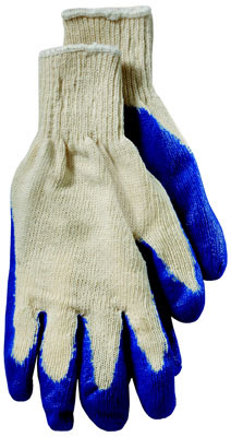 Blue Latex Coated Seamless Knit Glove, Medium Weight Shell, Large