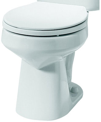 Round Front Toilet Bowl, White Color, 1.6 gpf / 6.0 lpf Water Usage
