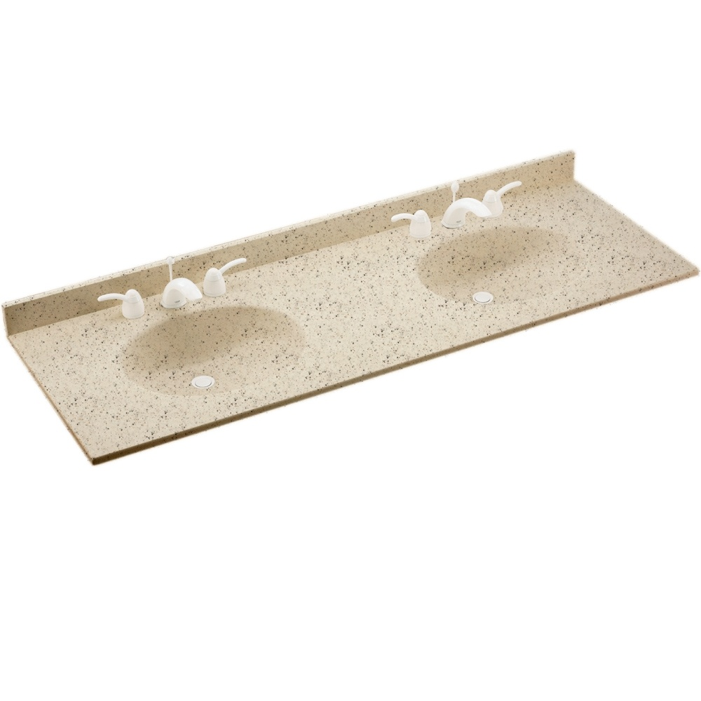 "Solid Surface 22"" x 61"" Double Bowl Vanity Top in Tahiti Desert"