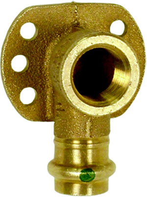 "ProPress Bronze 90° Drop Ear Elbow P x FPT with Wall Plate - Zero Lead, 1/2"" x 1/2"" FPT"