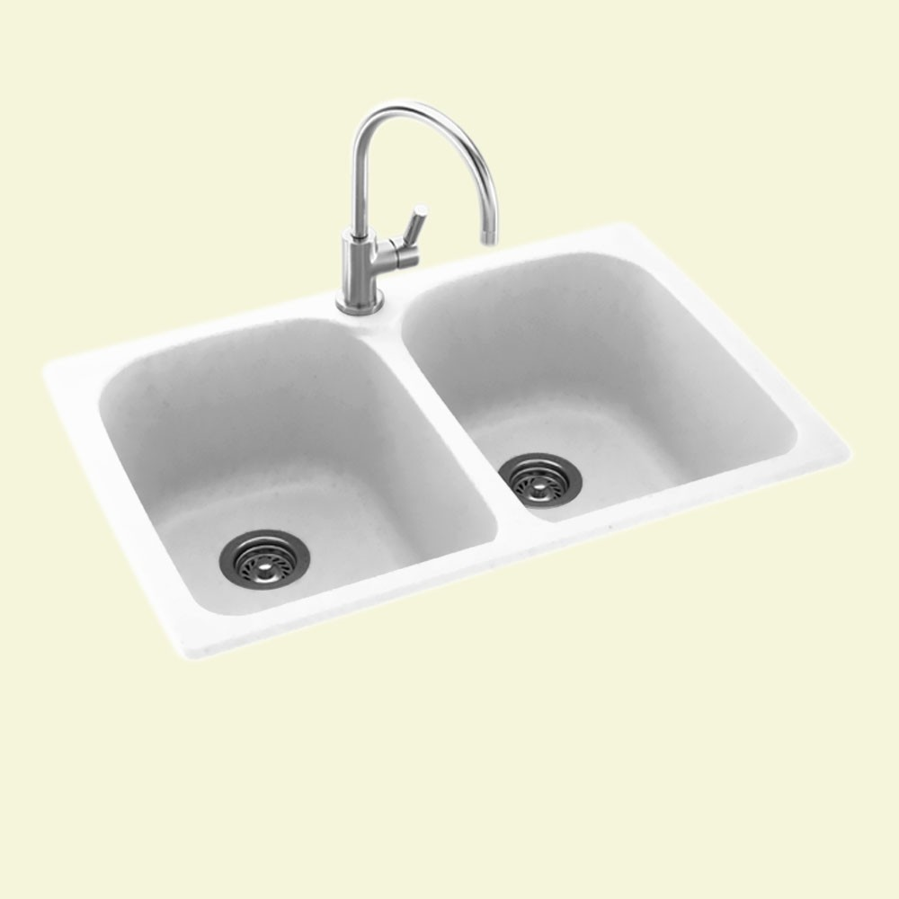 "Solid Surface Dual Mount 33"" x 22"" x 10"" Super Double Bowl Kitchen Sink in White"