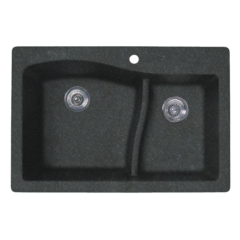 "Granite Dual Mount 33"" x 22"" x 10"" (L), 7-1/2"" (R) Large/Small Double Bowl Kitchen Sink in Nero"