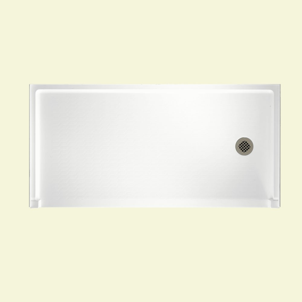 "Solid Surface 30"" x 60"" Barrier Free Shower Floor with Right Drain in White"