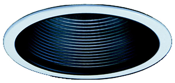 "4"" Line Voltage and Compact Fluorescent, Baffle Recessed Lighting Trim, Black Baffle, White Ring"