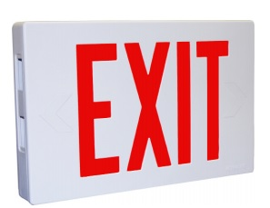 UNIVERSAL THERMOPLASTIC EXIT SIGN; RED LETTERS; WHITE HOUSING; NICD BATTERY