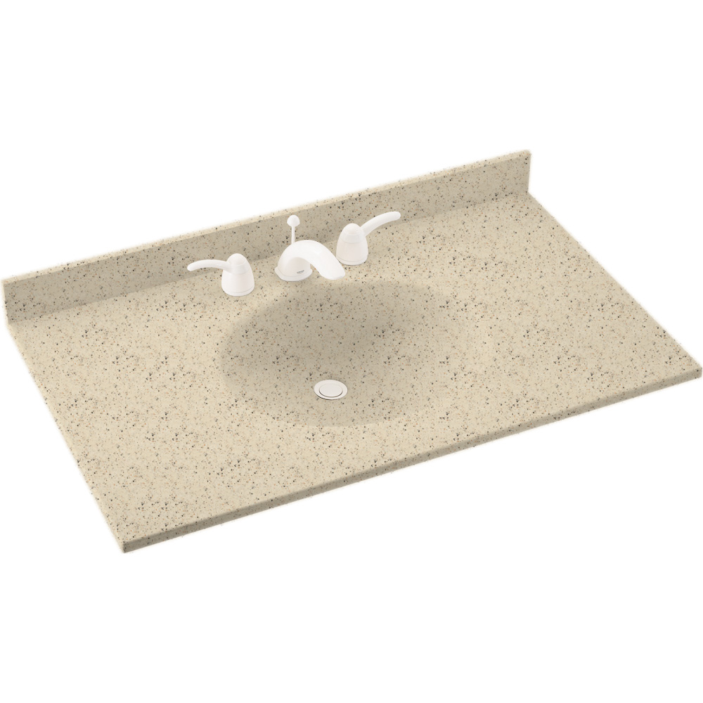 "Solid Surface 22"" x 61"" Single Bowl Vanity Top in Tahiti Desert"