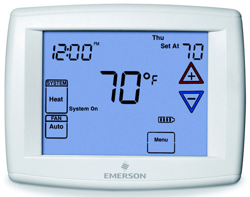 "Emerson Big Blue 12"" Display, Touchscreen Premium Universal - Programmable Fan / Remote Sensor Digital Thermostat"