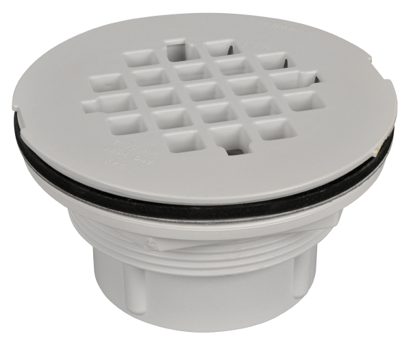 AB&A Fiberglass and Acrylic Floor Shower Drain, PVC-White Plastic Strainer - Snap-in (#7210)