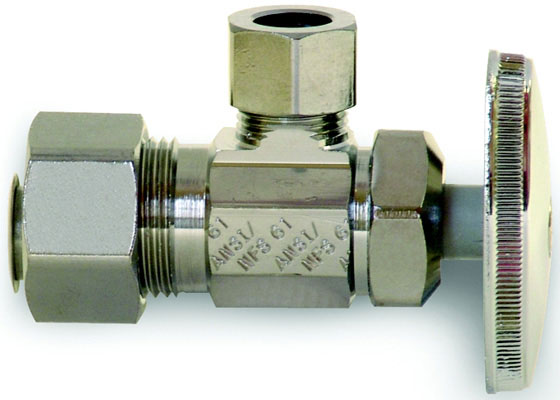 "1/4 Turn Angle Stop - 1/2"" Nom Cold Expansion Barb x 3/8"" OD Comp"