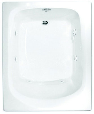 "Drop-In Tub, 60"" x 32"" x 20"", Basin Size 42"" x 22"" x 16"", 39 gal Capacity, Thermal Formed Cast Acrylic, White"