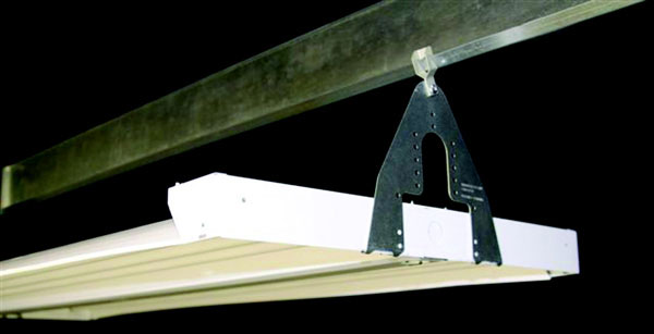High-Bay Fluorescent Fixture Brackets That Clip To Z-Purlins