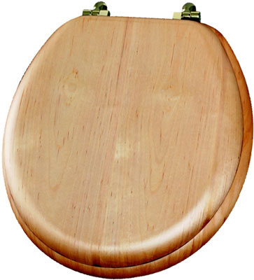 Round Natural Reflections Wood Veneer Toilet Seat with Brass Hinge