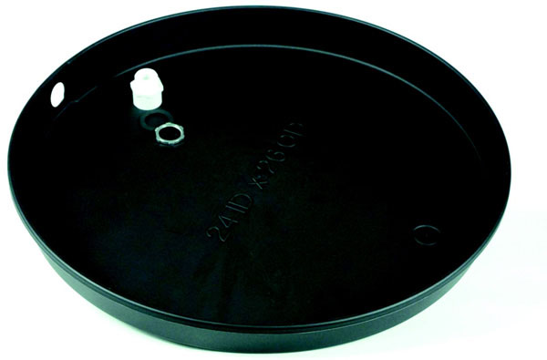 "20"" ID 2.63"" Deep Plastic Drain Pan with PVC Fitting"