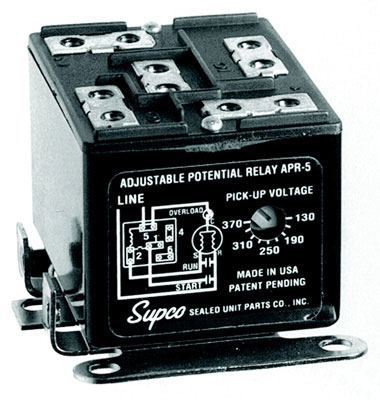 Adjustable Potential Relay - 30 Amperage, Screw or Push-on Terminals, 110 - 270 VAC Single Phase Operating Voltage