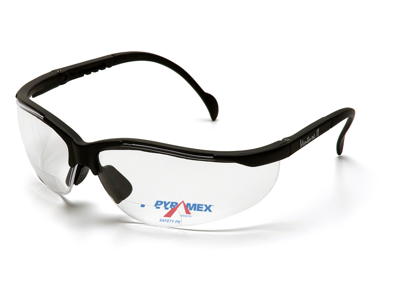 Pyramex® V2 Readers™ Safety Glass Black Frame Clear Mirror Lens +1.5