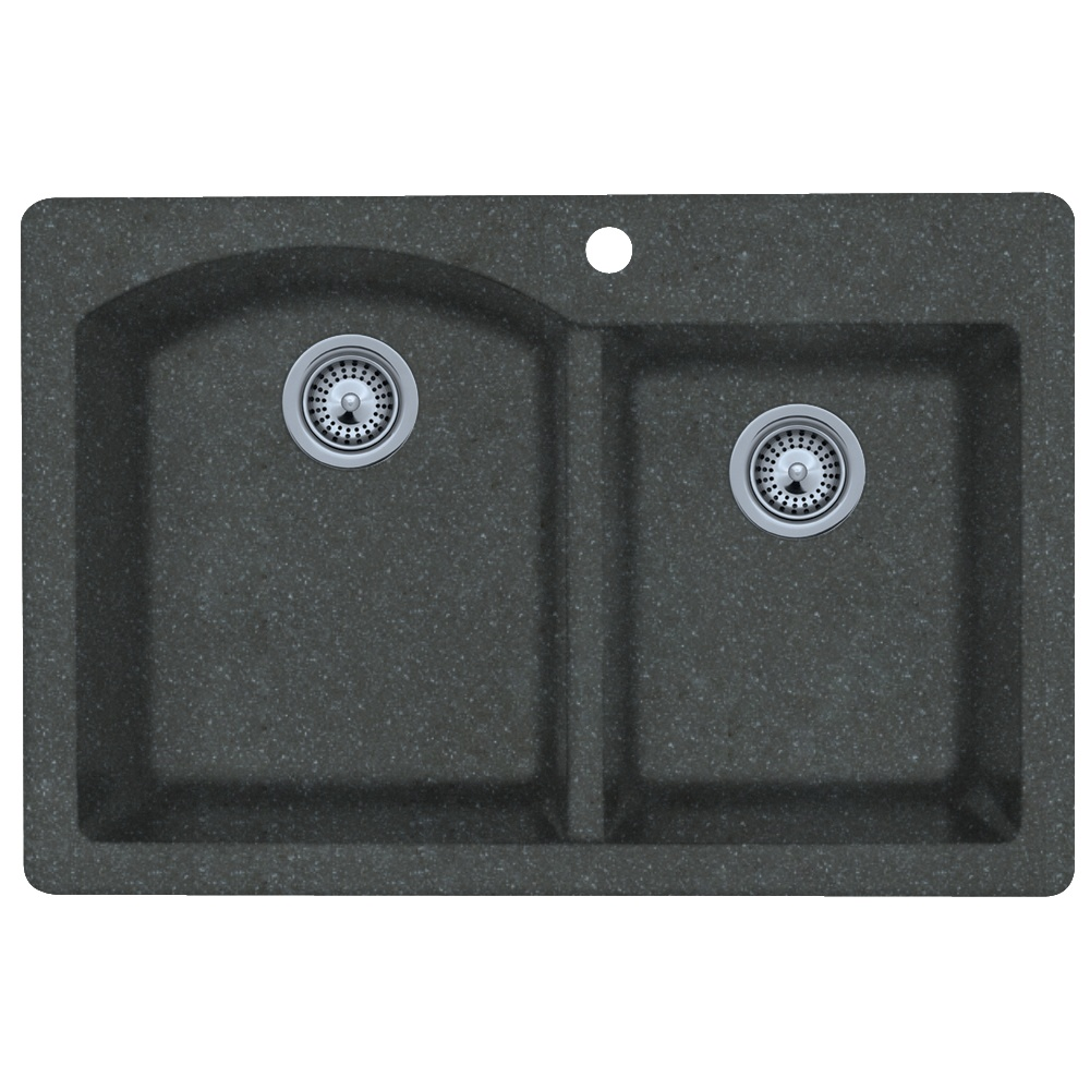 "Granite Dual Mount 33"" x 22"" x 9"" Double Bowl Kitchen Sink in Nero"