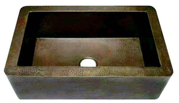 "Copper Single Well Kitchen Sink with Apron, 3-1/2"" Drain Hole"