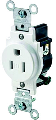 15a 5-15R Tamper Resist Single Receptacle White