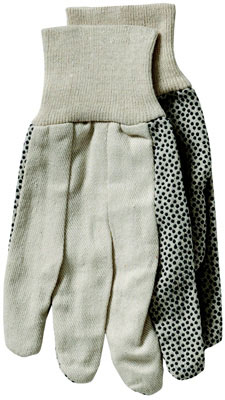 8 oz Canvas Dotted Palm Glove, Premium Grade, Natural Knitwrist, PVC Black Dots, Large