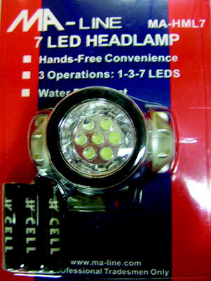 7 Leds 3-Position (1-3-7 LED) Head Lamp with Strap