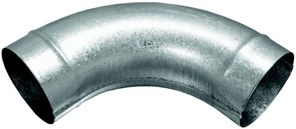 "10"" 90° Spiral Pipe Elbow, Stamped, G-90 Galvanized"