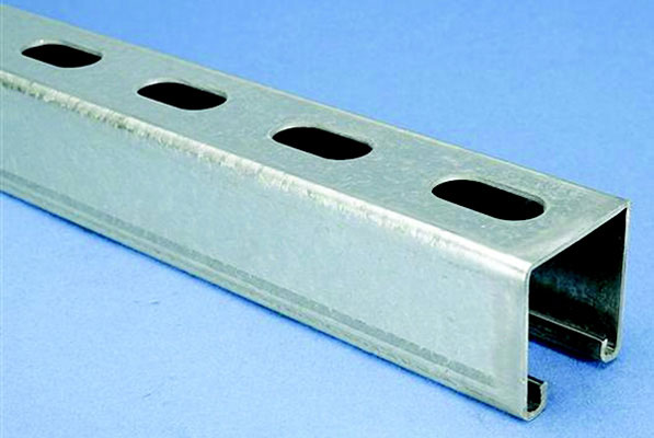 "1-5/8"" x 12 Gauge H-Strut Channel with 9/16"" x 1-1/8"" Slots on 2"" Centers, 10' Length"