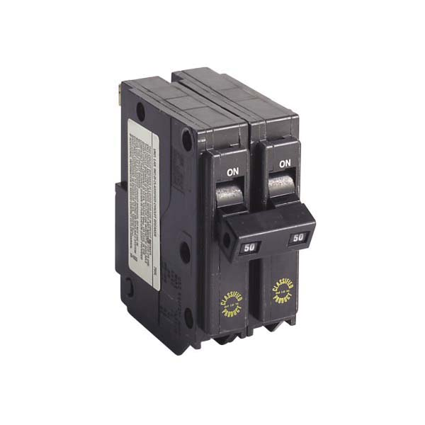 CHQ250 Type CHQ Classified Replacement Breaker, 120/240 VAC, 50 A, 10 kA Interrupt, 2 Poles, Common Trip