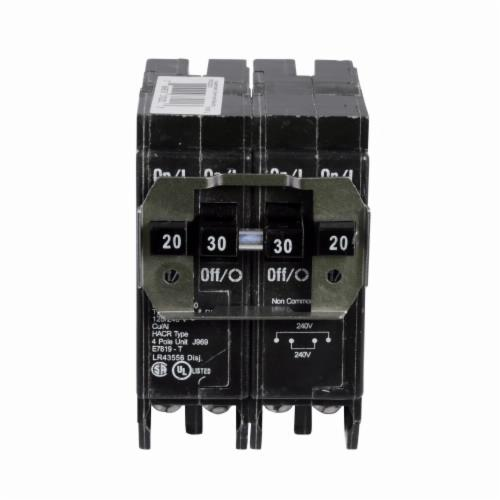 BRD220230 Type BR Thermal Magnetic Circuit Breaker, 120/240 VAC, 20 to 30 A, 10 kA Interrupt, 4 Poles