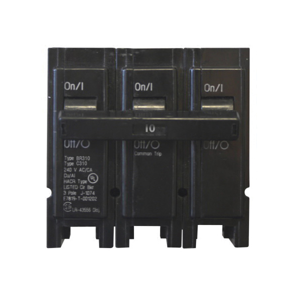BR345 Type BR Circuit Breaker, 120/240 VAC, 45 A, 10 kA Interrupt, 3 Poles, Common Thermal Magnetic Trip