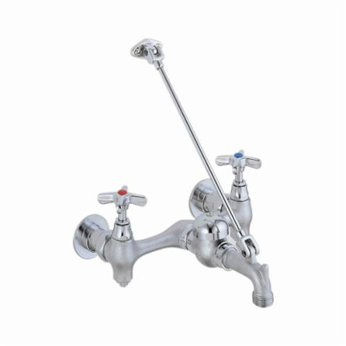 28T9 Service Sink Faucet, 5.2 gpm, 8 in Center, Rough Chrome Plated, 2 Handles, Wall Mount, Import, Commercial