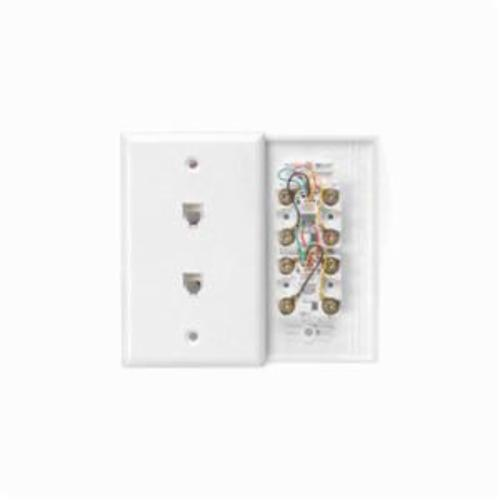Leviton 40244-W Standard Telephone Wall Jack, 1 Gangs, 4.53 in L x 2-3/4 in W, High Impact Plastic, Flush Mount