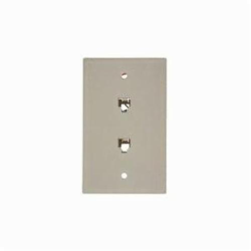 Leviton 40244-T Standard Telephone Wall Jack, 1 Gangs, 4.53 in L x 2-3/4 in W, High Impact Plastic, Flush Mount