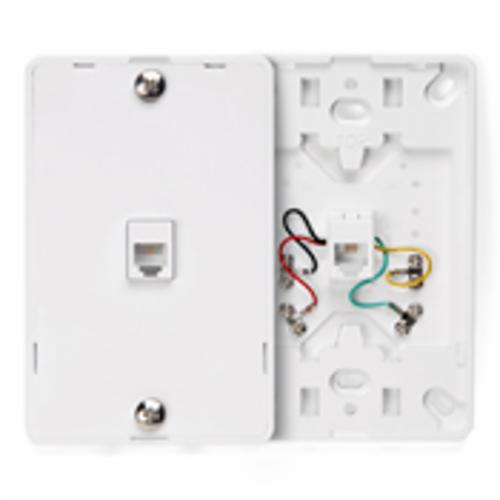 Leviton 40214-W Telephone Wall Jack, 1 Gangs, 4.72 in L x 3 in W, High Impact Plastic, Wall Mount