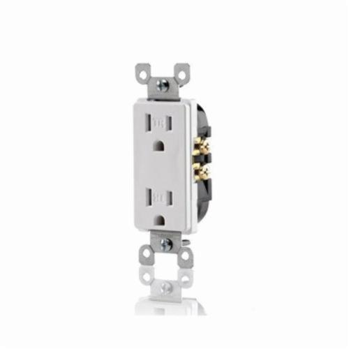 Decora T5325 Straight Blade Duplex Receptacle, 125 VAC, 15 A, 2 Poles, 3 Wires, Brown