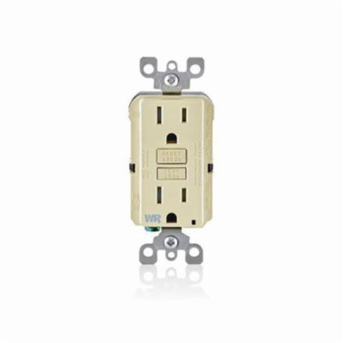 SmartlockPro GFWT1-I Self-Test GFCI Receptacle, 125 VAC, 15 A, 2 Poles, 3 Wires, Ivory