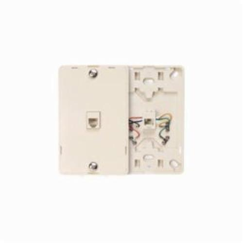 Leviton 40214-T Telephone Wall Jack, 1 Gangs, 4.72 in L x 3 in W, High Impact Plastic, Wall Mount
