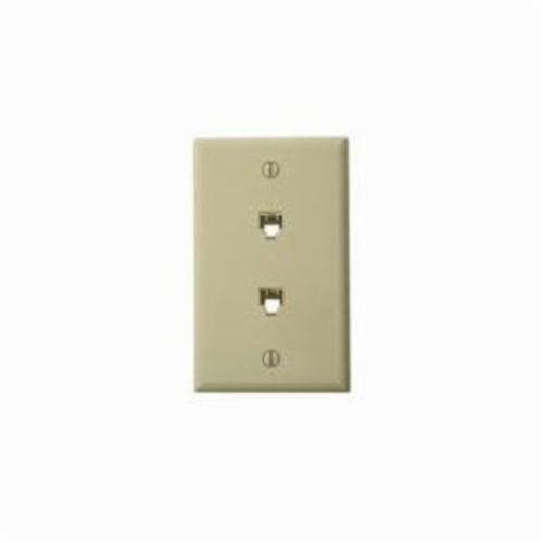 Leviton 40244-I Standard Telephone Wall Jack, 1 Gangs, 4.53 in L x 2-3/4 in W, High Impact Plastic, Flush Mount