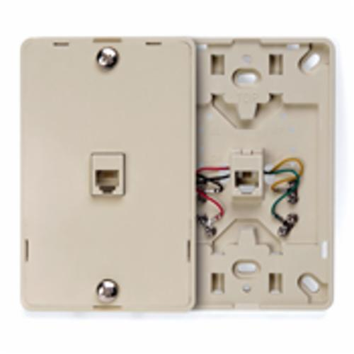 Leviton 40214-I Telephone Wall Jack, 1 Gangs, 4.72 in L x 3 in W, High Impact Plastic, Wall Mount