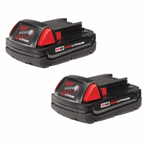 Milwaukee M18 Compact Rechargeable Cordless Battery Pack, 1.5 Ah Li-Ion Battery, 18 VDC