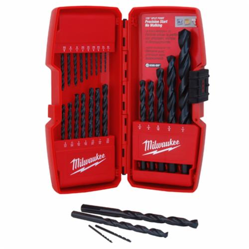Milwaukee Thunderbolt Secure-Grip Drill Bit Set, 21 Pieces, 3-Flat Shank, Parabolic Flute, 135 deg Split Point