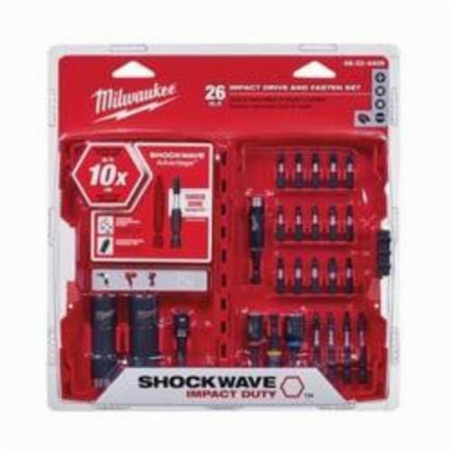 Milwaukee Shockwave 48-32-4408 Drive and Fasten Set, Imperial, Impact Rated: Yes, 26 Pieces