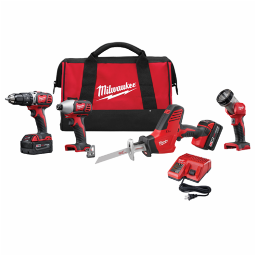Milwaukee M18 Cordless Combination Kit, 8 Pieces, Red with Black Overmold