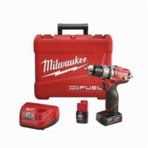 Milwaukee M12 FUEL Cordless Hammer Drill/Driver Kit, 1/2 in Metal Single Sleeve Ratcheting Lock Chuck, 12 VDC