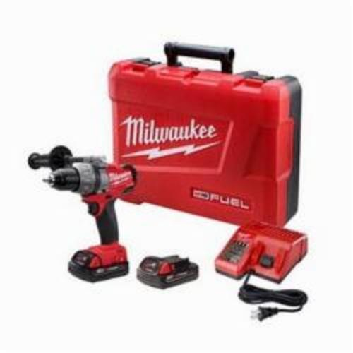 Milwaukee M18 FUEL Compact Lightweight Cordless Drill/Driver Kit, 1/2 in, 650 in-lb Torque, 18 VDC