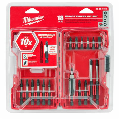 Milwaukee Shockwave 48-32-4403 Driver Bit Set, Imperial, Impact Rated: Yes, 18 Pieces