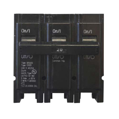 EATON BR320 Type BR Circuit Breaker, 240 VAC, 20 A, 10 kA Interrupt, 3 Poles, Common/Thermal Magnetic Trip