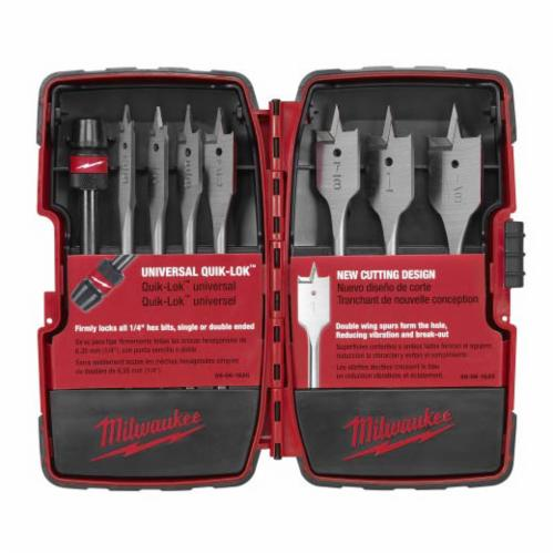 Milwaukee 49-22-0175 Universal Flat Boring Bit Set, 8 Pieces, 6 in OAL, 1/4 in Hex Shank, High Carbon Steel