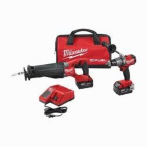 Milwaukee M18 FUEL 2-Tool Cordless Combination Kit, 10 Pieces, 18 V, Lithium-Ion, Red/Black